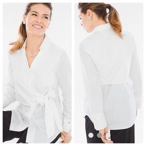 Black Label By Chico's Side Tie Shirt Alabaster S